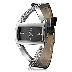 Black PU Leather Band Women's Quartz Wrist Watch