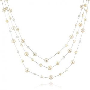 Silk Thread and Cultured Freshwater Pearl Clear Crystal 3-Strand Necklace, 18-20 inches