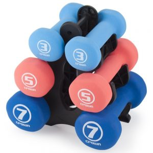 Set of 3 Pairs of Neoprene Body Sculpting Hand Weights with Stand