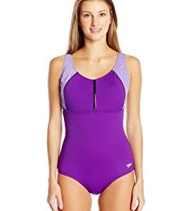 Speedo Zip Front One Piece Swimsuit