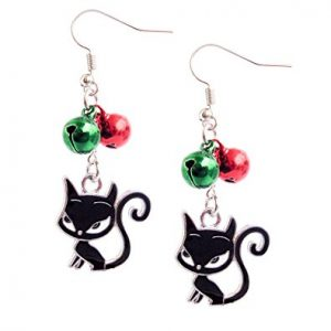 Happy Holidays Christmas With Cat Earrings, Dangle Earrings Jewelry