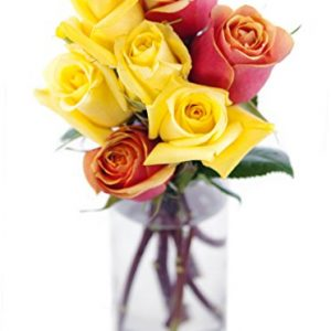 Bouquet of Long Stemmed Orange and Yellow Roses