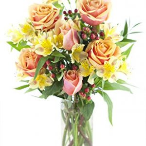Orange Rose & Yellow Alstro Bouquet