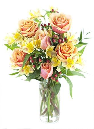 Orange Rose & Yellow Alstro Bouquet