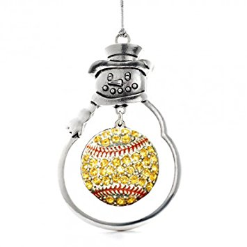 Snowman Ornament with Crystal Softball