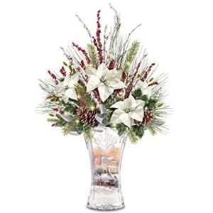 Christmas Lights Up Floral and Crystal Vase
