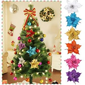 Glitter Artificial Flowers for Xmas Tree