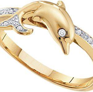 Diamond Dolphin Womens Animal Band Ring