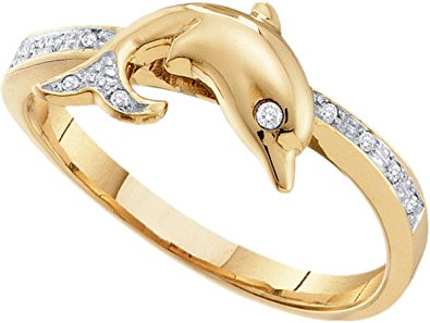 Diamond Dolphin Womens Animal Band Ring