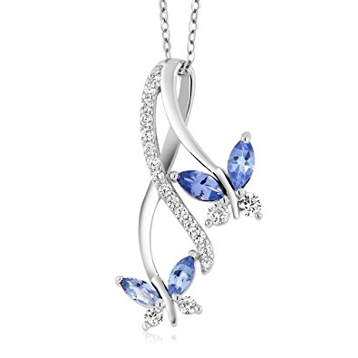 Butterfly Infinity Pendant With 18 inch Silver Chain