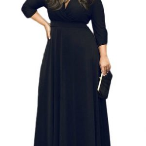 Solid V-Neck 3/4 Sleeve Plus Size Evening Party Maxi