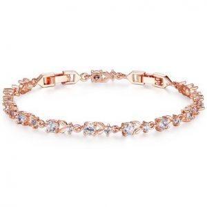 Bamoer Luxury Slender Rose Gold Plated Bracelet