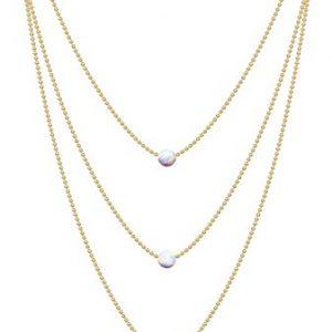 Triple White Opal Necklace