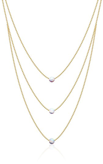 Triple White Opal Necklace