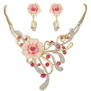 Enamel Spring Hibiscus Flower Jewelry Set