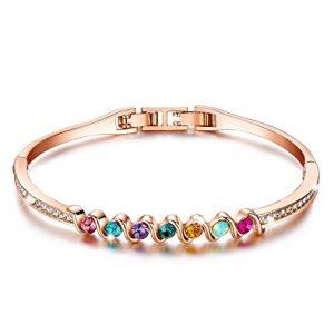 Rose Gold Plated Bangle Bracelet MultiColor