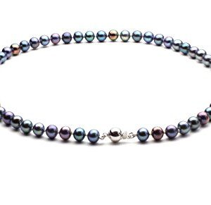 Black Round Freshwater Cultured Pearl Necklace