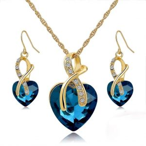 Necklace Earrings Set Heart Shape Gold Plated