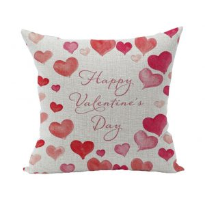 Ruideng Lover Heart Pattern Cotton Linen Square Throw Pillow Case
