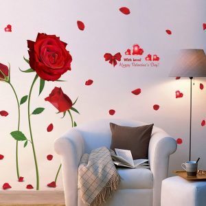 Happy Valentines Day Wall Decals Romantic Rose Flower Sticker Red