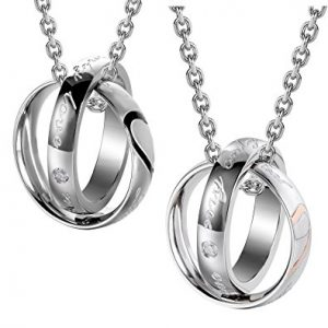 Couples Engraved Double Ring Pendant Necklace