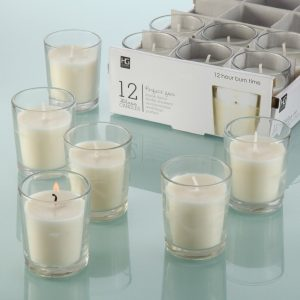 12 Unscented Glass Votive Candles