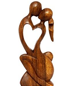 """12"""" Wooden Abstract Sculpture Statue Hand Carved"""