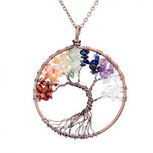 Sedmart Tree of life pendant Amethyst Rose Crystal