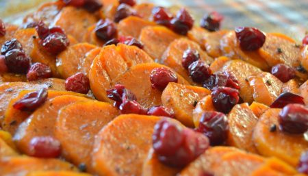 Cider-Glazed Sweet Potatoes With Cranberries