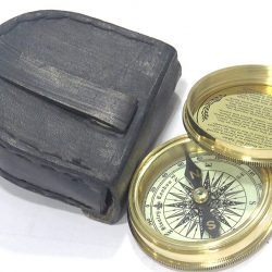 Artshai brass Magnetic Compass with Leather Case, Antique style