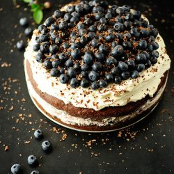 Chocolate Blueberry Tofu Mousse with Sesame Crunch