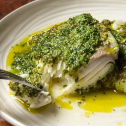 Halibut with Watercress Pesto
