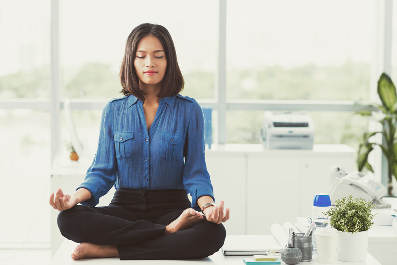 Take A Yoga Break At Your Office Desk Women Fitness