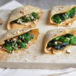 Chickpea Crepes with Spinach