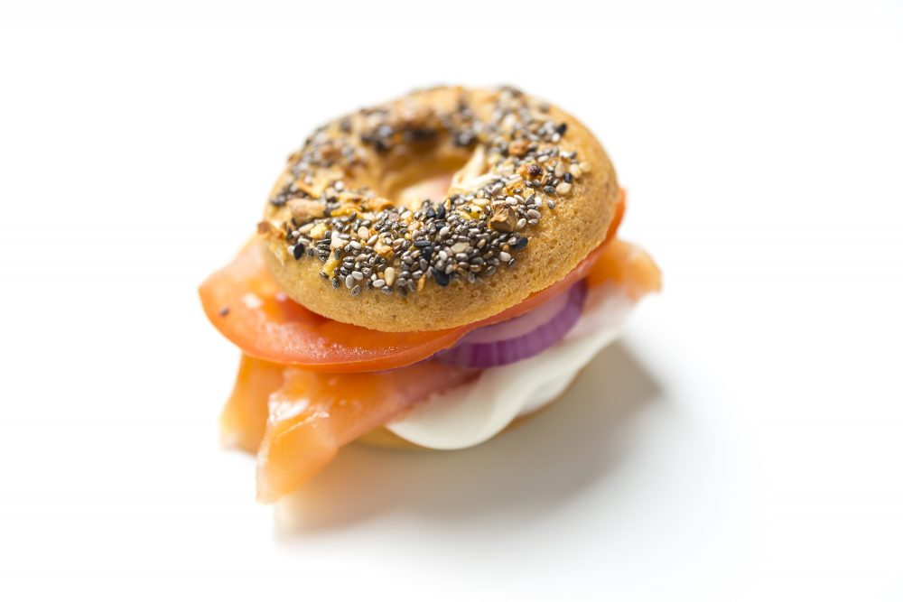 Gluten Free Bagel with Smoked Salmon and Cashew Cream Cheese