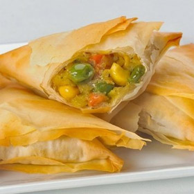 Vegetable Samosas - Gourmet Frozen Appetizers (56 Piece Tray)