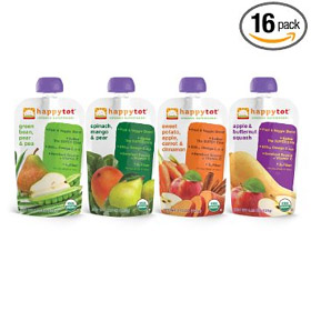 Happy Tot Organic Toddler Food, Tot 4 Flavor Variety Pack, 4.22 Ounce (Pack of 16)