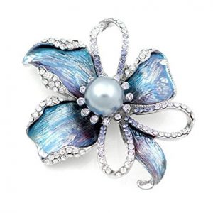 Glamorousky Flower Brooch with Silver Austrian Element Crystal