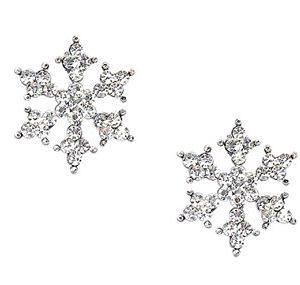Sparkling Crystal Silver Tone Snowflake Stud Earrings