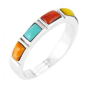 Sterling Silver Stackable Ring with Genuine
