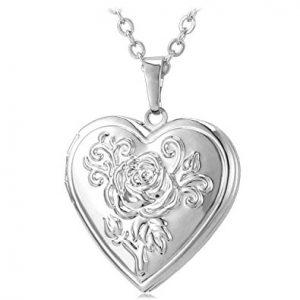 Heart Shaped Photo Locket Pendant Women