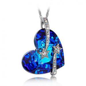 Shooting Star & Hollow-out Design Heart Sapphire Pendant