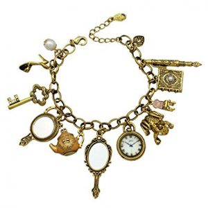 Q&Q Fashion Vintage Fairytale Charms Cinderella Alice in Wonderland Narnia Style Chain Bangle Bracelet