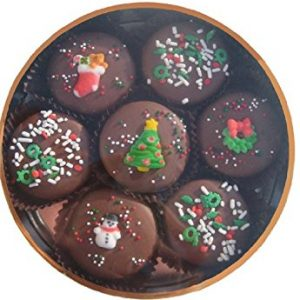 Chocolate Dipped Oreo Cookies decorated for Christmas
