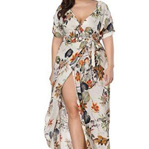 Plus Size Split Floral Print Flowy Party Maxi Dress