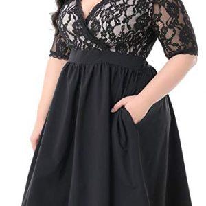 V-Neckline Lace Top Plus Size Cocktail Party Swing Dress
