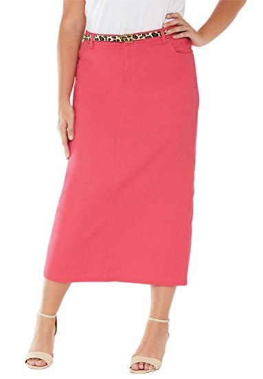 Women's Plus Size Classic Cotton Denim Long Skirt