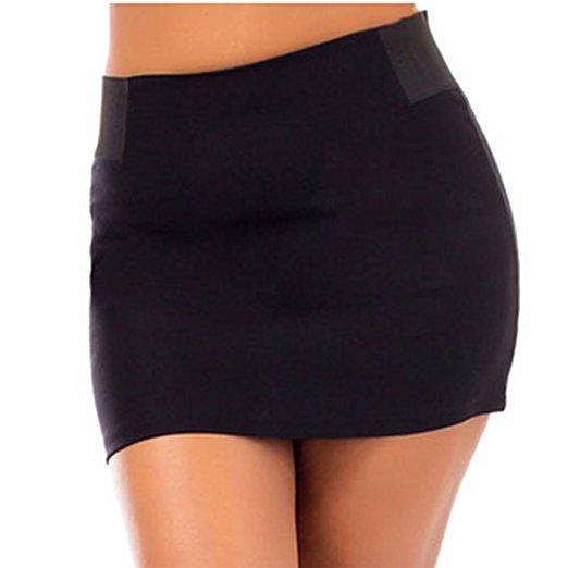 Stretchy Waist Back Zipper Short Mini Skirt Black