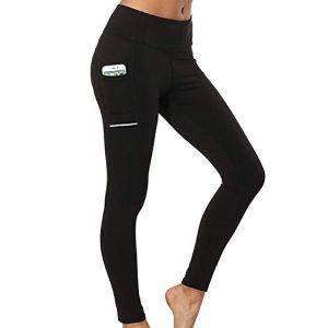 Tesuwel Women's Yoga Shorts with Pockets Stretch Tummy Control Workout Athletic Running Bike Shorts