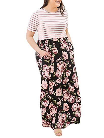 Rotita Women Striped Floral Plus Size Maxi Dress